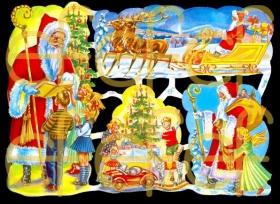 Glanzbilder - Weihnachtsmann im großen Schlitten