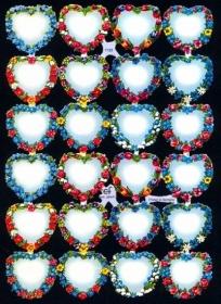 Glanzbilder mit Silber-Glimmer - 4 Blumenherze mit Platz für Sprüche