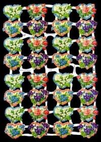 Glanzbilder mit Silber-Glimmer - 32 Blumenherze