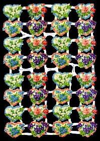 Glanzbilder - kleine Blumenherzen