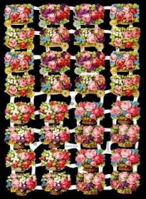 Glanzbilder mit Silber-Glimmer - 32 Blumenkörbe