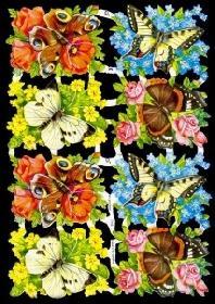 Glanzbilder - Schmetterlingen auf Blumen