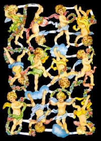 Glanzbilder mit Gold-Glimmer - 12 Engel
