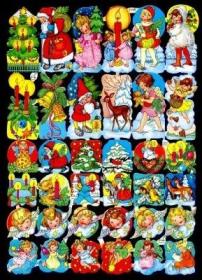 Glanzbilder mit Silber-Glimmer - 36 verschiedene Weihnachtsbildchen