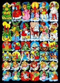 Glanzbilder - 36 verschiedene Weihnachtsbildchen