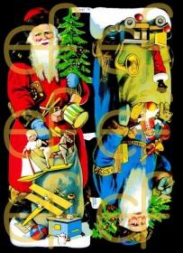 Glanzbilder - zwei große Weihnachtsmänner