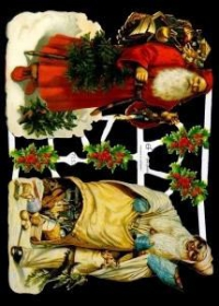 Glanzbilder mit Gold-Glimmer - zwei Weihnachtsmänner