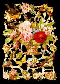 Glanzbilder - Blumenkorb with Tieren