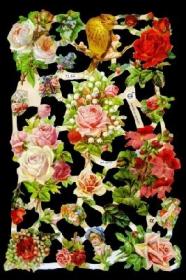 Glanzbilder mit Silber-Glimmer - verschiedene Rosen und Blumen