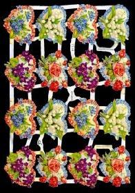 Glanzbilder - blaue Blumenherzen