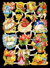 Glanzbilder - Blumen mit Herzmotiven