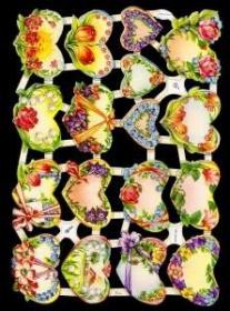 Glanzbilder mit Silber-Glimmer - 17 Blumenherzen