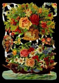 Glanzbilder mit Silber-Glimmer - Blumenkorb und Blumenschiffchen