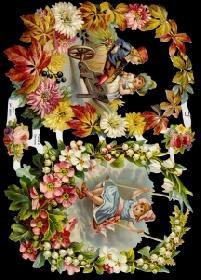 Glanzbilder - Blumenkörbe mit Kindern