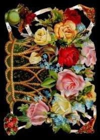 Glanzbilder mit Silber-Glimmer - großer Rosenkorb