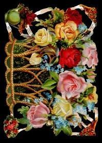 Glanzbilder - großer Rosenkorb