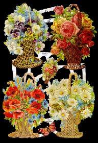 Glanzbilder - 4 Blumenkörbe