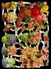 Glanzbilder - Kinder mit Blumensträuße