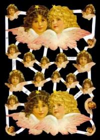 Glanzbilder mit Gold-Glimmer - 2 x 2 große Engelköpfe