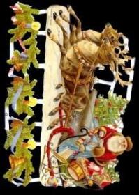 Glanzbilder mit Gold-Glimmer - Weihnachtsmann im großen Schlitten
