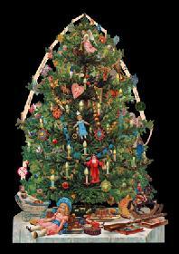 Glanzbilder mit Glimmer - großer Weihnachtsbaum silber