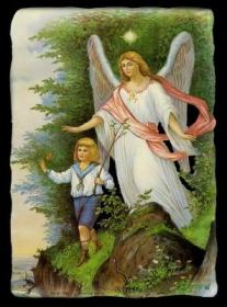 Glanzbilder mit Gold-Glimmer - großer Schutzengel mit Kind