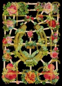 Glanzbilder mit Silber-Glimmer - Hufeisen mit Rosen