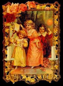 Glanzbilder - 3 Kinder mit Kerzenrahmen