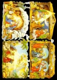Glanzbilder mit Gold-Glimmer - drei mal die Krippe