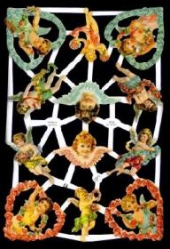 Glanzbilder mit Gold-Glimmer - verschiedene Engel, 4 im Blumenherz