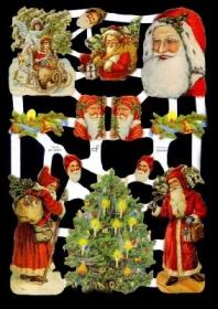 Glanzbilder mit Silber-Glimmer - Weihnachtsmänner und ein Weihnachtsbaum