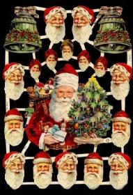 Glanzbilder mit Gold-Glimmer - Weihnachtsmann mit Weihnachtsbaum, 16 Köpfe und 2 Glocken