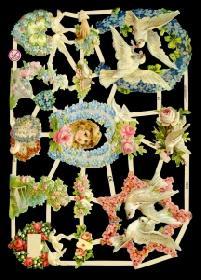 Glanzbilder - Tauben and Blumen