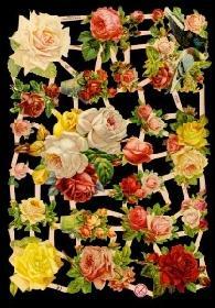 Glanzbilder - Rosen mit Tauben