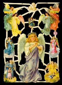 Glanzbilder - großer und 6 mittlere Engel