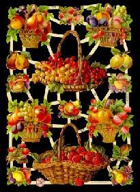Glanzbilder - Obstkörbe ( Erdbeeren )