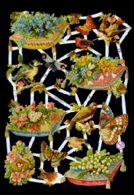 Glanzbilder mit Silber-Glimmer - Kissen mit Blumen Schmetterlinge und Vögel
