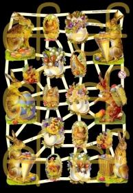Glanzbilder mit Silber-Glimmer - Osterbogen mit 6 größeren Osterhasen