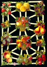 Glanzbilder mit Silber-Glimmer - Obstkorb mit heimischen Obst und Zitrusfrüchten