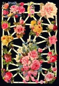 Glanzbilder mit Silber-Glimmer - verschiedene Rosen und Rosensträuße