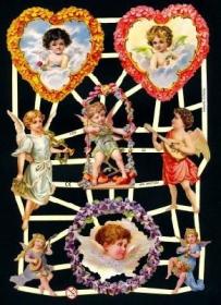 Glanzbilder mit Gold-Glimmer - Verschiedene Engel. 2 im Kranz aus Blumen