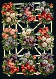 Glanzbilder mit Silber-Glimmer - neun Blumensträuße