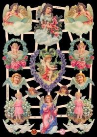 Glanzbilder mit Silber-Glimmer - Engel mit Blumen und Wolken