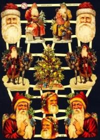 Glanzbilder mit Silber-Glimmer - Weihnachtsmänner, Weihnachtsmannköpfe