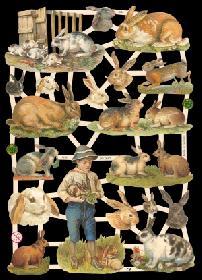 Glanzbilder - Junge mit Kaninchen