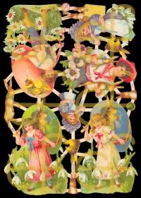 Glanzbilder mit Silber-Glimmer - Kinder mit Osterhasen