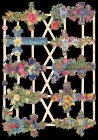 Glanzbilder mit Silber-Glimmer - 10 Blumenkreuze