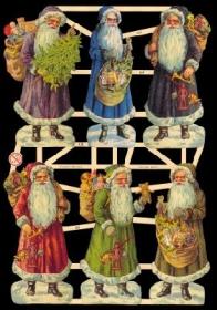 Glanzbilder mit Gold-Glimmer - Sechs Weihnachtsmänner