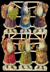 Glanzbilder mit Silber-Glimmer - Sechs Weihnachtsmänner
