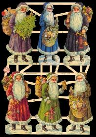 Glanzbilder - Sechs Weihnachtsmänner
